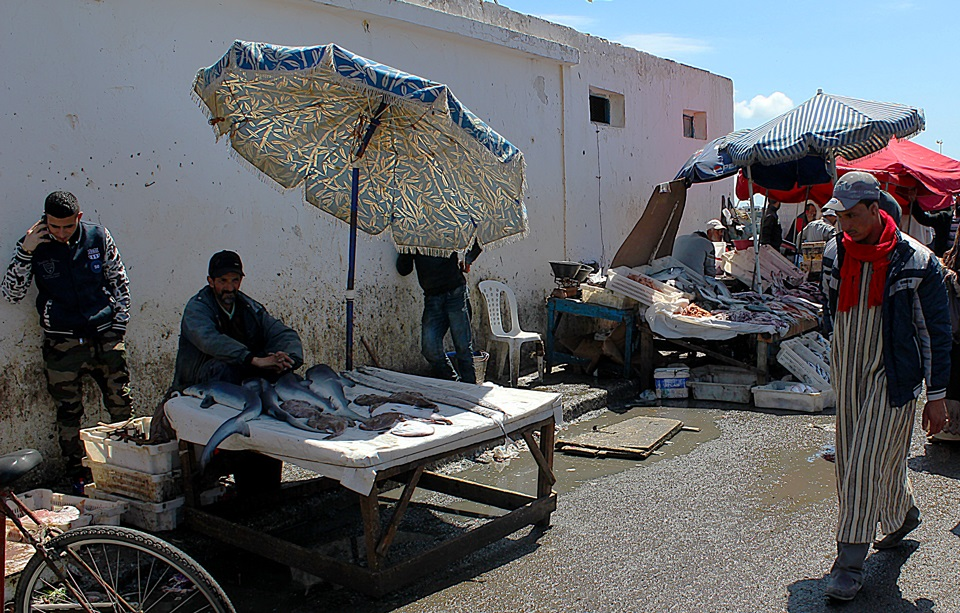 Vendedores do mercado de peixe de Essaouira.