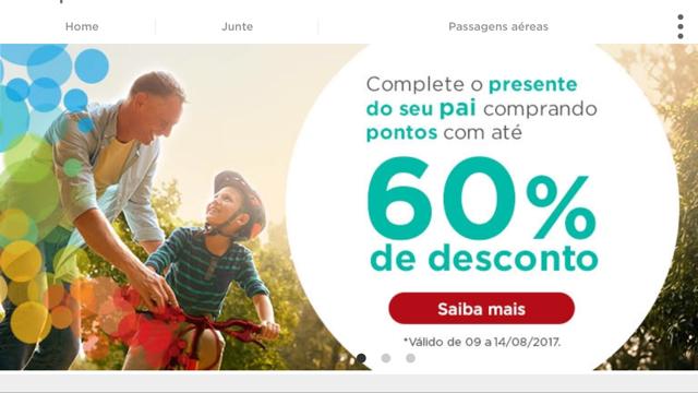 Promoção de dia dos pais para compra de pontos Multiplus