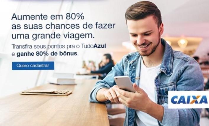 Tudo azul e Caixa: Promoção de 80% de bônus para transferência de pontos