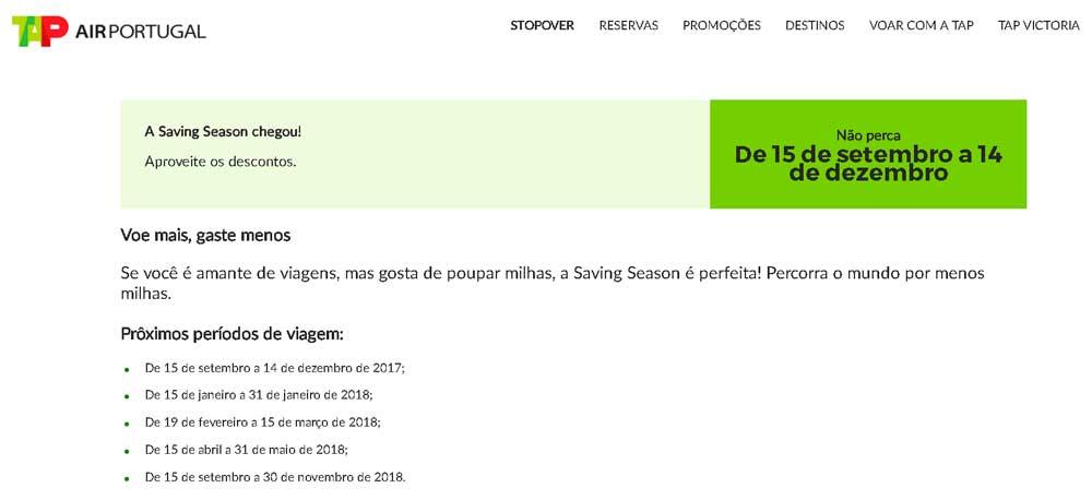 Saving Season de 15 de setembro a 14 de dezembro.