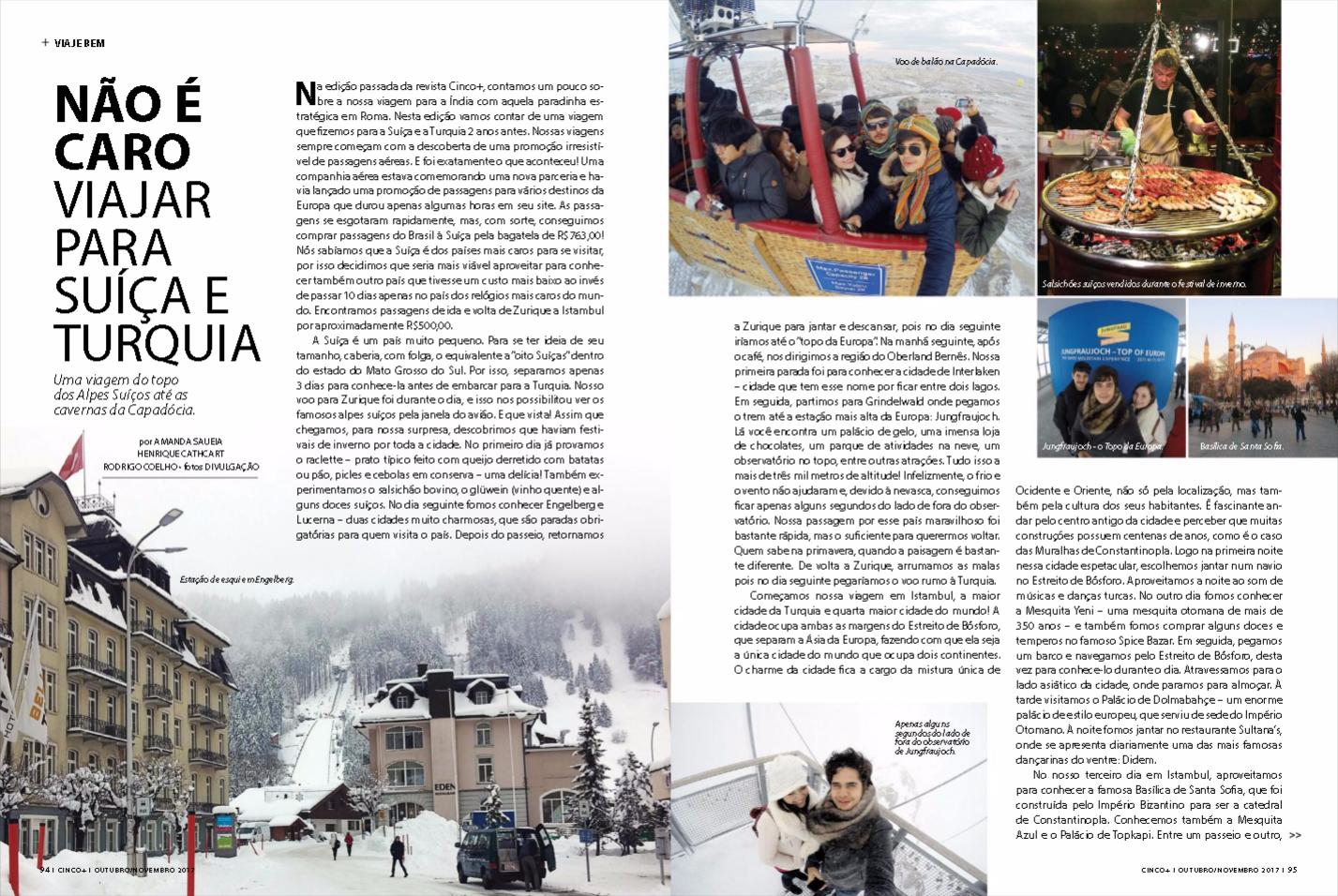 Não é caro viajar para a Suíça e Turquia [Revista CINCO+]