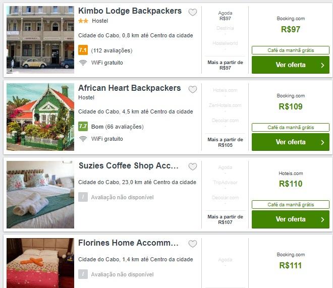 Preços médios de hospedagens na Cidade do Cabo
