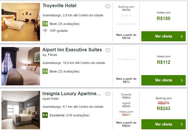 Imagem preços hotéis em Joanesburgo