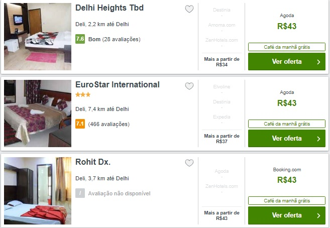Relação de hotéis baratos em Nova Delhi
