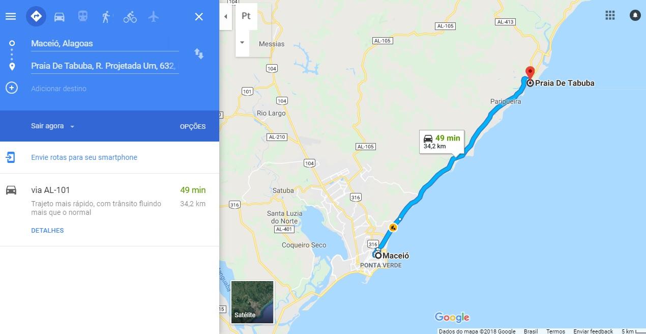 Como chegar em Tabuba partindo de Maceió. Fonte: Google Maps