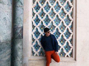 Pose pra foto na mesquita Hassan II