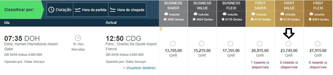 Custo passagem de primeira classe comprando diretamente no site da companhia -Doha a Paris