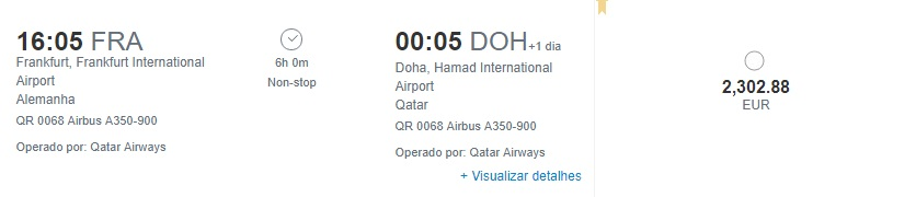 Custo da passagem comprando no site diretamente no site da companhia - Frankfurt/Doha - classe executiva
