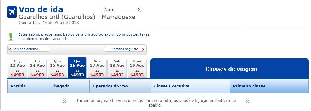 disponibilidade voo British de Guarulhos pra Marrakech