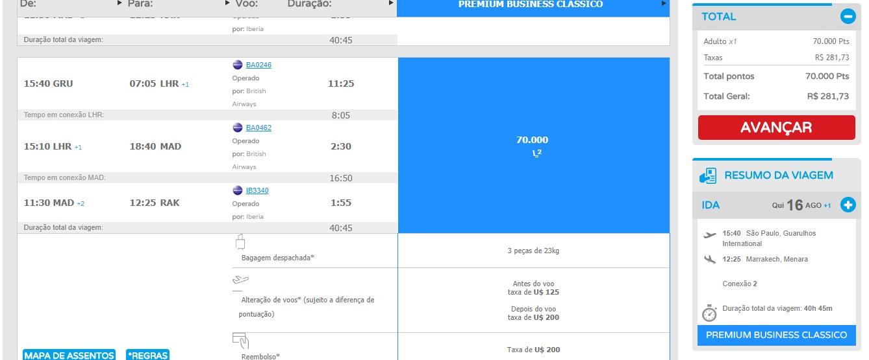 Disponibilidade de voo de Guarulhos para Marrakech no dia 16/08