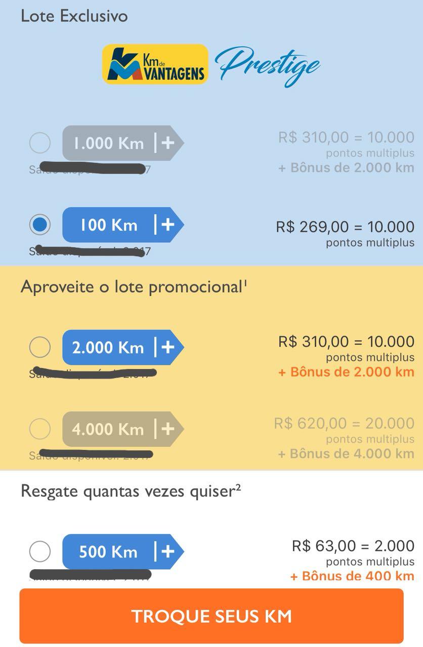 Lista de preços para troca de pontos KM por Multiplus