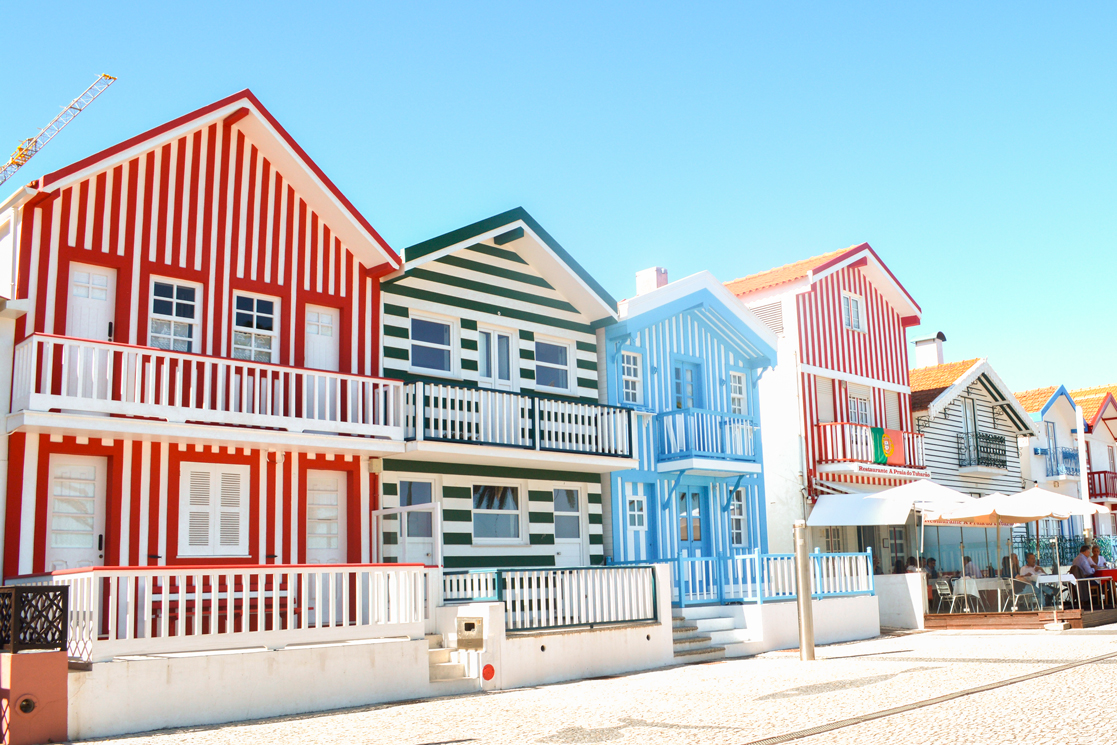 Casas listradas na Costa nova de Aveiro