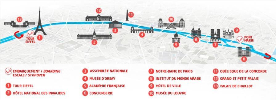 Mapa do cruzeiro do Rio Sena
