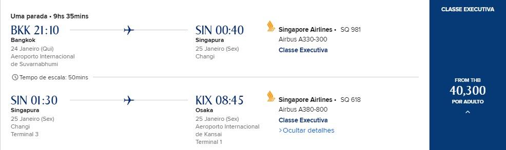 Custo passagem em dinheiro de Bangkok para Osaka com a Singapore Airlines