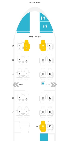 Layout da classe executiva do B747-400 da Lufthansa