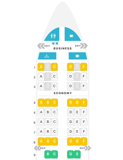 Layout A321 classe executiva da Turkish Airlines