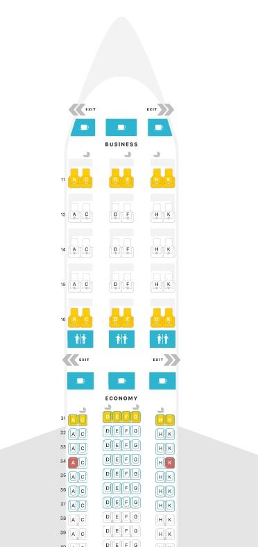 Mapa de assentos da classe executiva da Singapore Airlines no A330-300