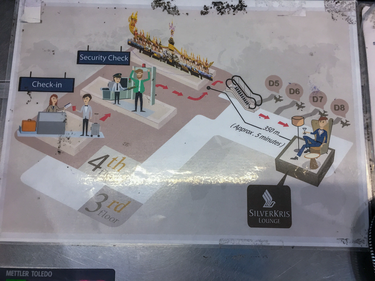 Mapa para chegar no Lounge VIP SilverKris da Singapore Airlines no aeroporto de Bangkok