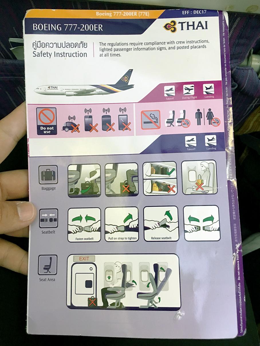 Informações sobre o avião: Classe econômica Thai Airways 777-200ER