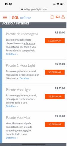 Internet: Classe econômica da GOL - 737-800 de Guarulhos para Santiago