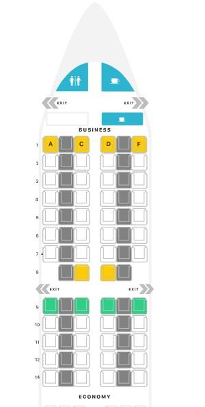 Mapa de assentos classe executiva do A321 da Iberia