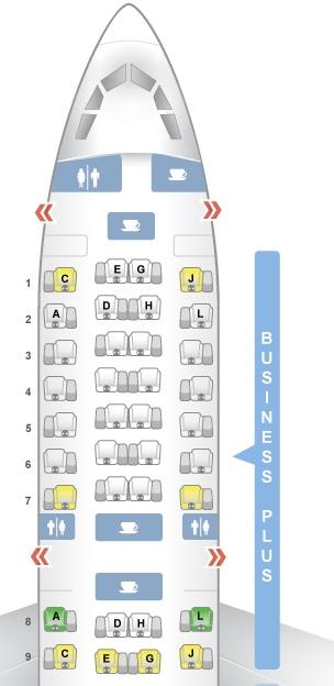 Mapa de assento do avião a330-300 da Iberia na classe executiva