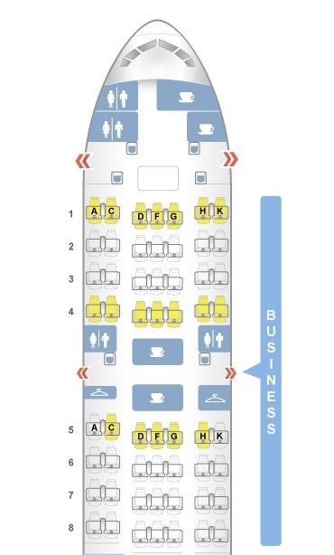 Mapa de assento classe executiva Latam Airlines 777-300