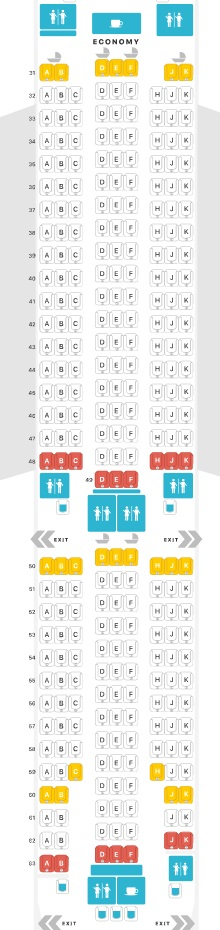 Mapa de assento na classe econômica da Thai Airways no 777-200ER