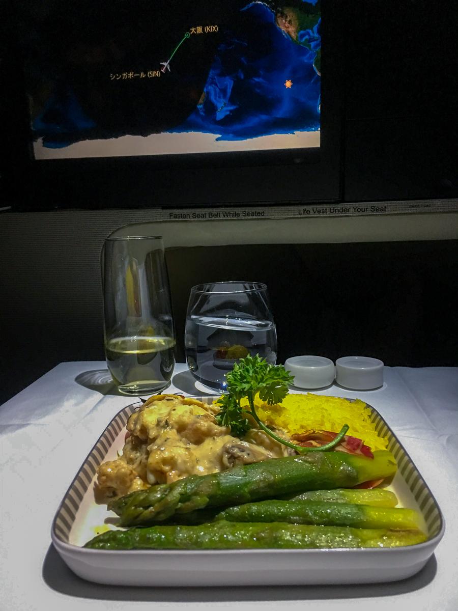 Lagosta com legumes: Classe executiva Singapore Airlines A380-800