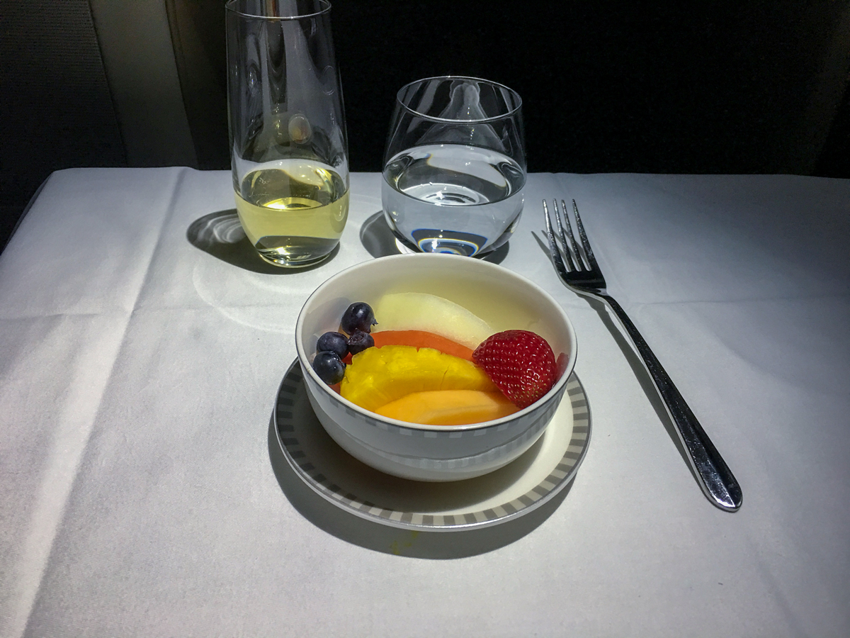 Frutas da estação: Classe executiva Singapore Airlines A380-800