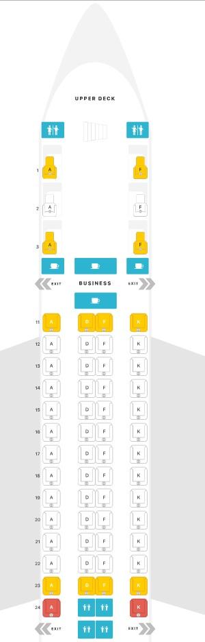 Mapa de assento Singapore Airlines A380-800 - Classe executiva
