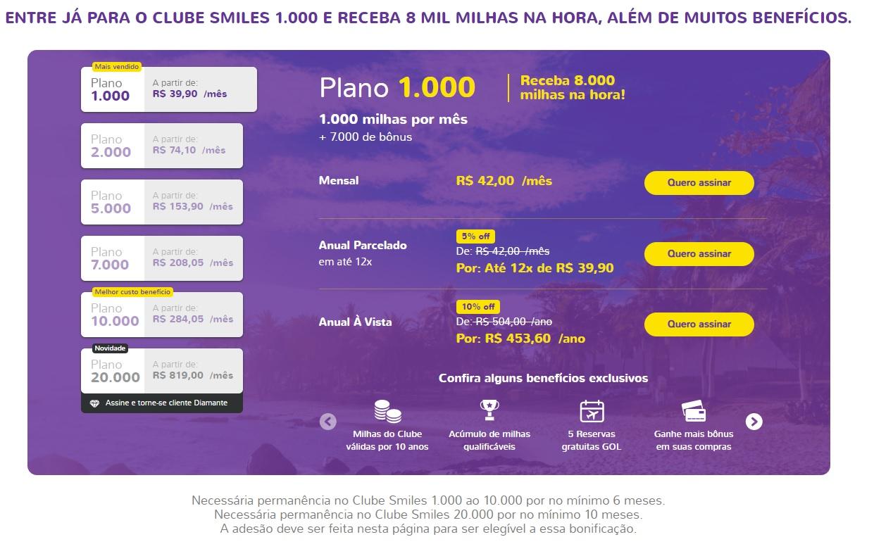 Promoção assinatura plano 1.000 Clube Smiles
